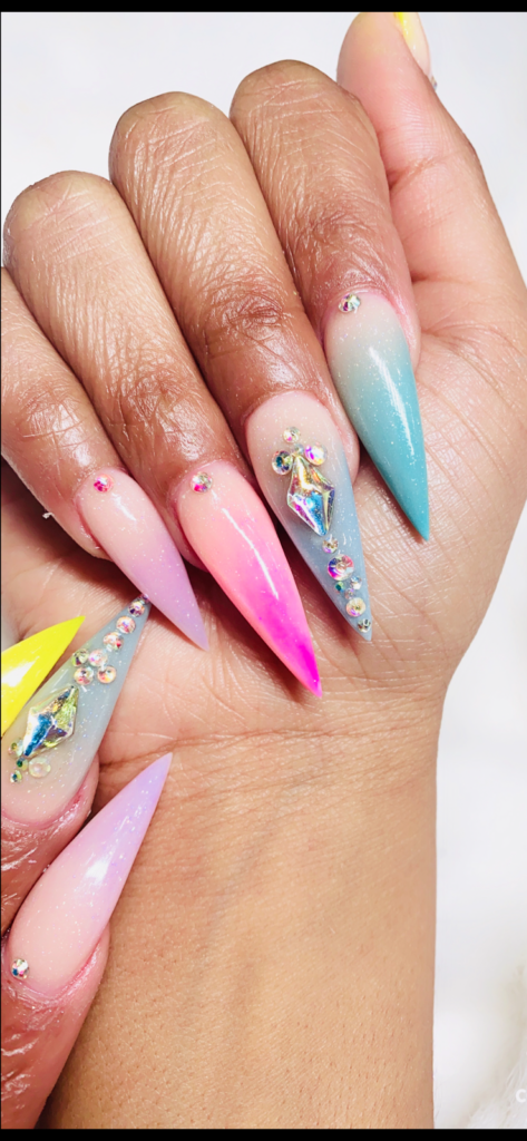 Colored Acrylic Ombre Nail Designs